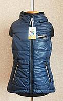"""Демисезонная жилетка для девочки """"Вест"""" 134-164 синяя бренд SVik"""