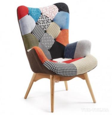 Кресло Флорино, мягкое, дерево бук, цвет пэчворк, оранжевый, коричневый, синий