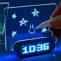 Настольные цифровые часы с доской для световых надписей