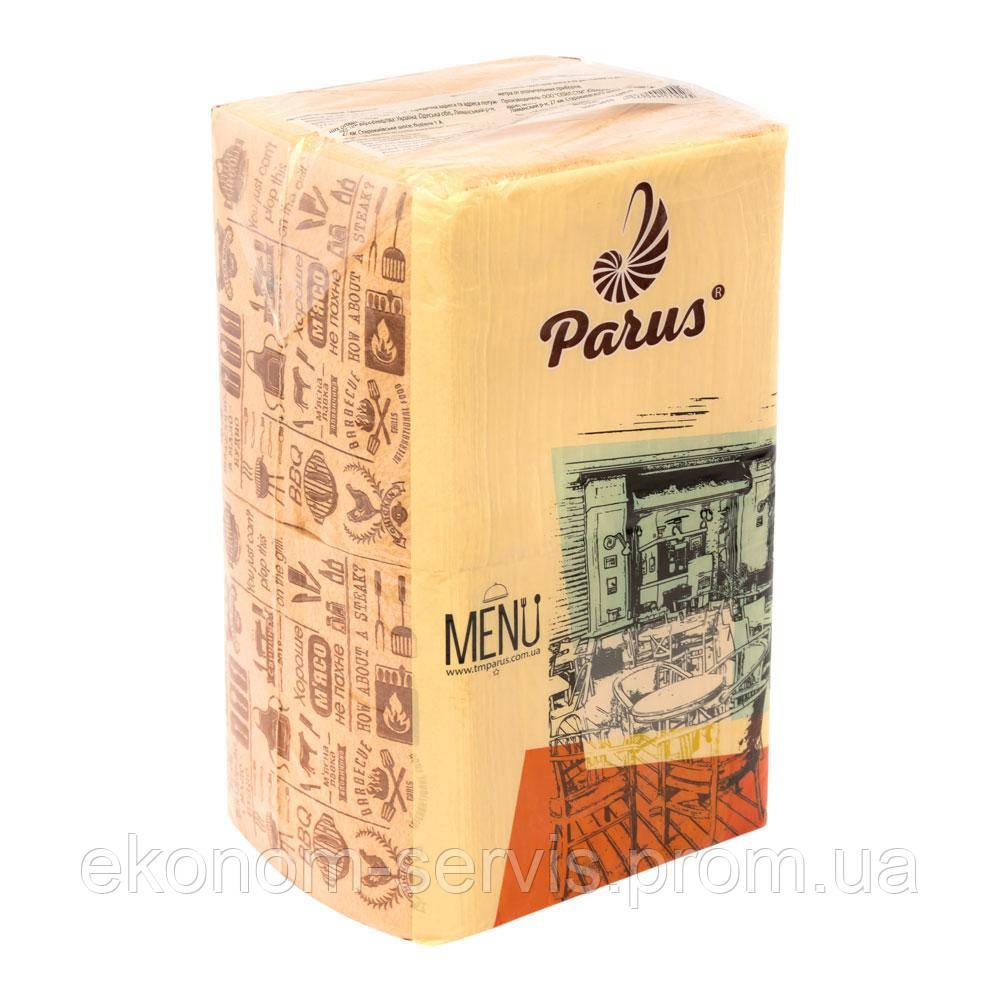 Салфетка барная Парус Menu с ТМ, 1-сл., крафт, 350 шт.