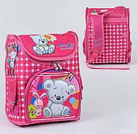Каркасный рюкзак для школьников Мишка с зайчиком 3D с ортопедической спинкой
