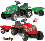 Трактор педальний, дитячий Smoby з причепом, фото 5