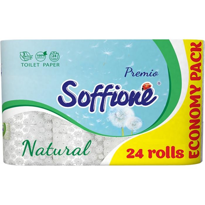 Бумага туалетная Soffione Natural 3 слоя, 24 рулона