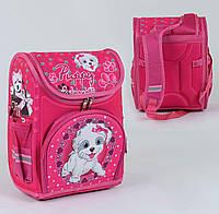 Каркасный рюкзак для школьников Щенок с бантиком 3D с ортопедической спинкой