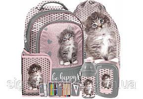 Школьный рюкзак с кошкой PASO комплект 5 шт.