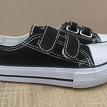 27р, 28 рр Дитячі та підліткові кеди конверси AIL STAR в стилі Converse липучка чорні чорно білі, фото 3