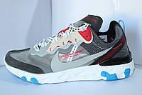 Мужские кроссовки Nike React на шнурке синие