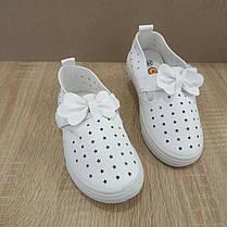 Детские Кроссовки кеды белые с бантиком на липучке летние с перфорацией эко - кожа  25-30, фото 2