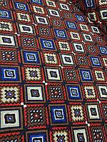 Ткань шерсть для пошива верхней одежды принт ромбами