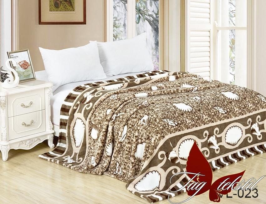 Плед покрывало 200х220 велсофт Ракушки на кровать, диван