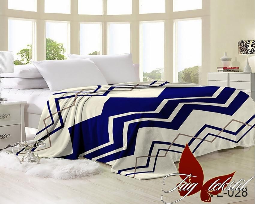 Плед покрывало 200х220 велсофт Зигзаг синий на кровать, диван