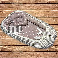 Комплект подушка и ортопедический кокон позиционер гнёздышко люлька ограничитель для новорожденных 4803 Пудра, фото 1