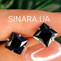 Мужские серебряные серьги с черным камнем Квадраты - Мужская серьга серебро