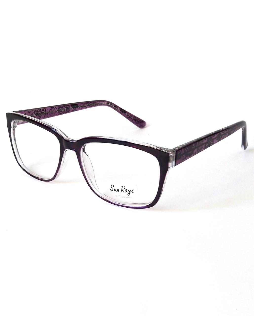 Оправа двухцветная, нарядная, чёрно-фиолетовая, глянцевая, пластиковая, женская, Sun Rays