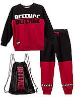 Спортивный костюм для мальчика DEFENCE (Бордовый+чёрный  (5-6) 116)