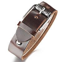 Кожаный браслет мужской, длина регулируется, фото 1