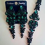 Вечерние черные серьги с красными, синими, зелеными, черными камнями, высота 8 см., фото 6