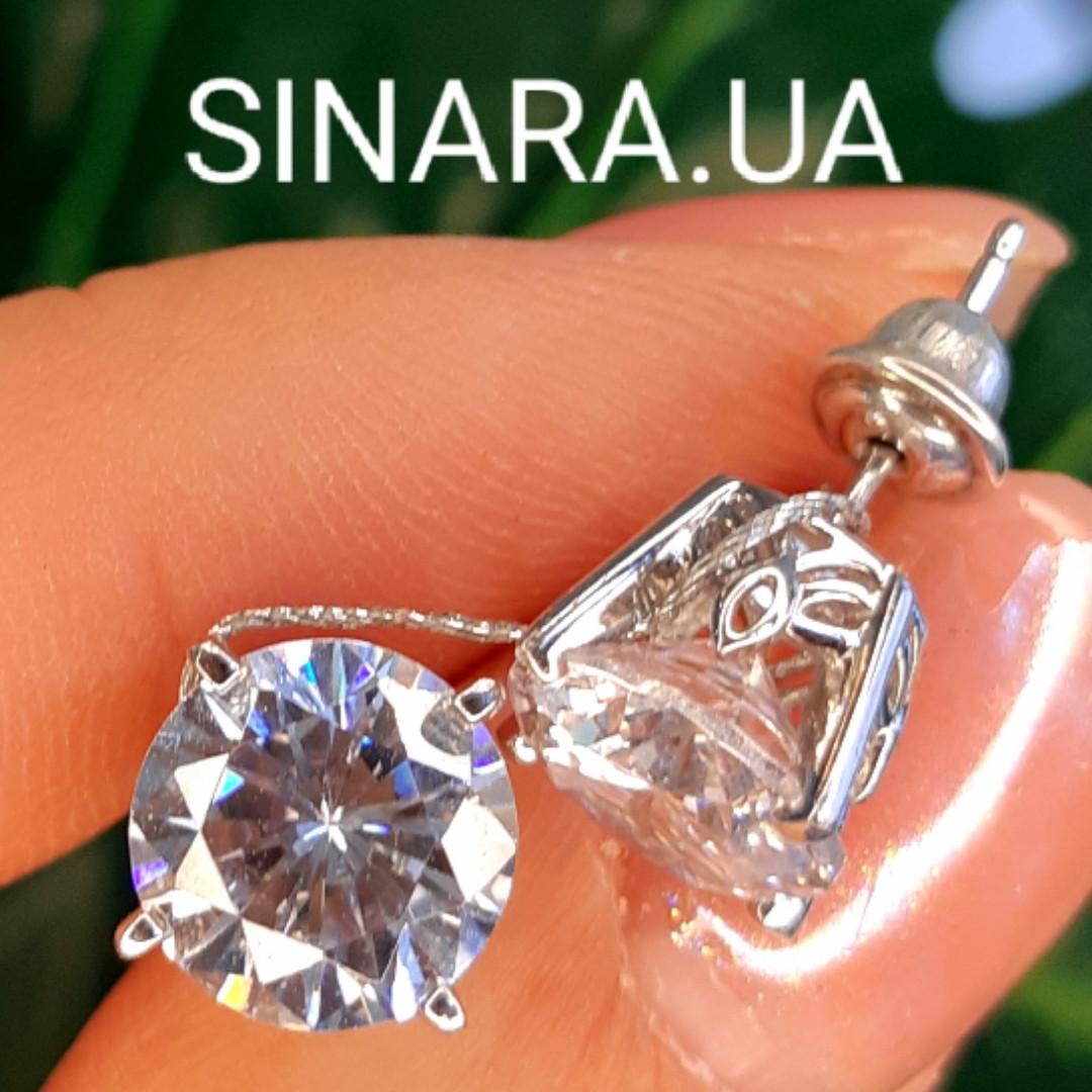 Мужские серьги гвозди серебряные с крупным камнем в стиле Диего Марадонна - Серебряная мужская серьга