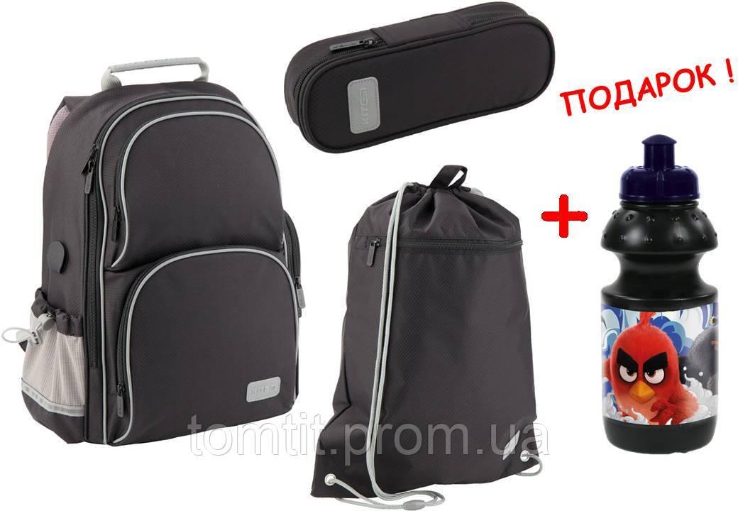 """Комплект. Рюкзак школьный Smart K19-702M-4 (черный) + пенал + сумка, ТМ """"Kite"""""""