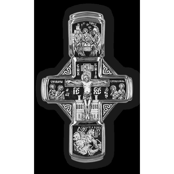 Распятие Христово с предстоящими. Святая Троица. Св. Георгий. Николай Чудотворец. Архангелы Гавриил и Михаил.