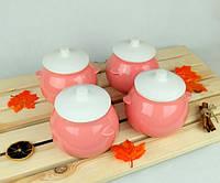 Горшочки для запекания в духовке 4 шт из керамики розовые