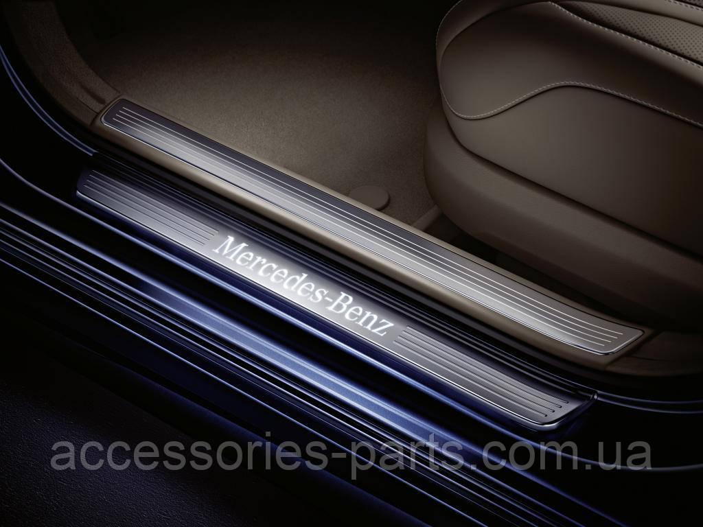 Накладки на пороги с подсветкой Mercedes W222 S-Class Long Новые Оригинальные