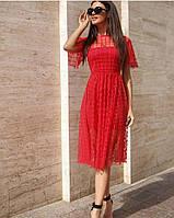 Платье красное сетка