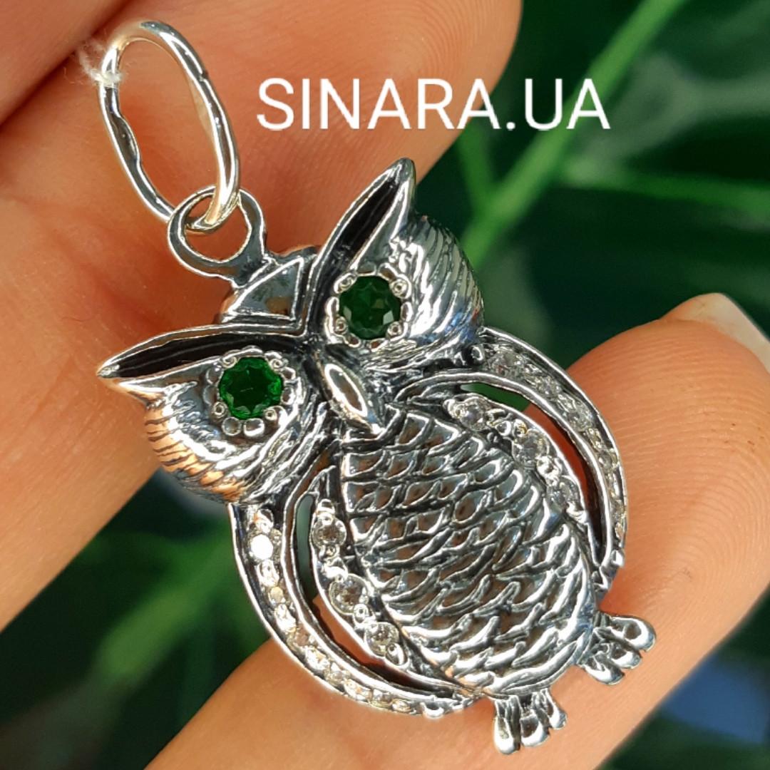 Кулон Сова серебряный  - Серебряная подвеска Сова с зелеными глазками