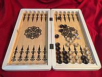 Нарды деревянные 50 см с лакированными деревянными фишками и шахматным полем Украина