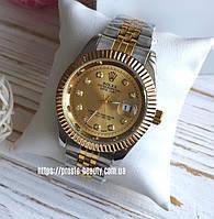 Женские часы Rolex Date Just золото серебро циферблат с камнями золотой календарь (дата)