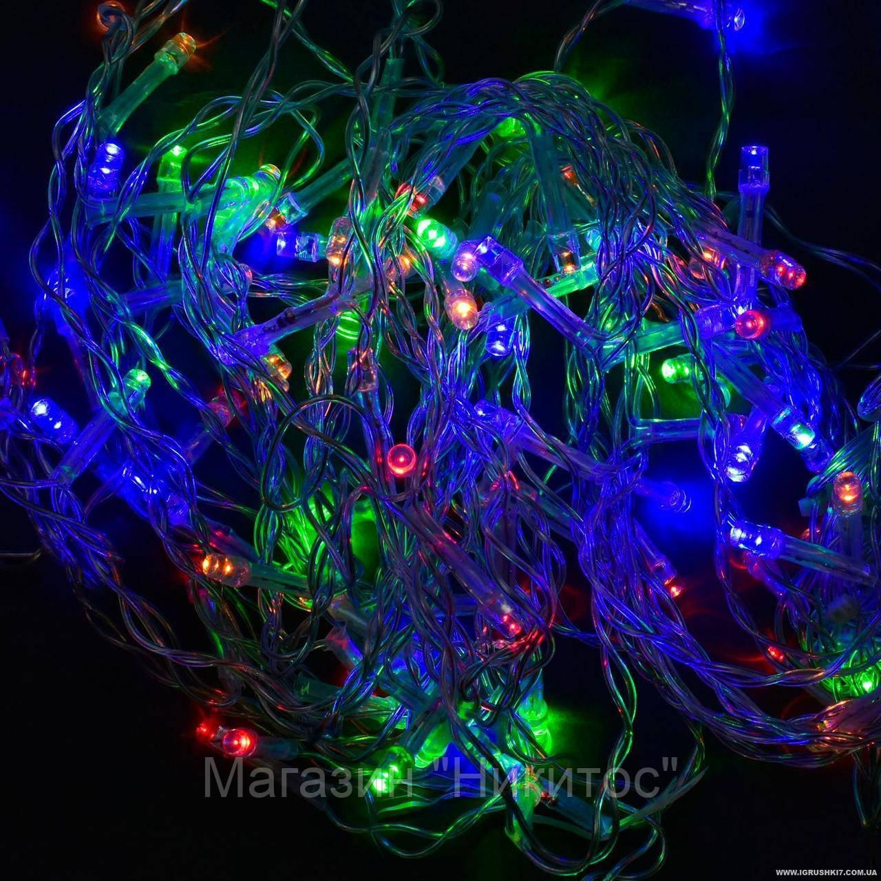 SALE!Гирлянда-штора светодиодная С 31311 (100) 100 лампочек, длина провода 3 метра, длина веток 70 см