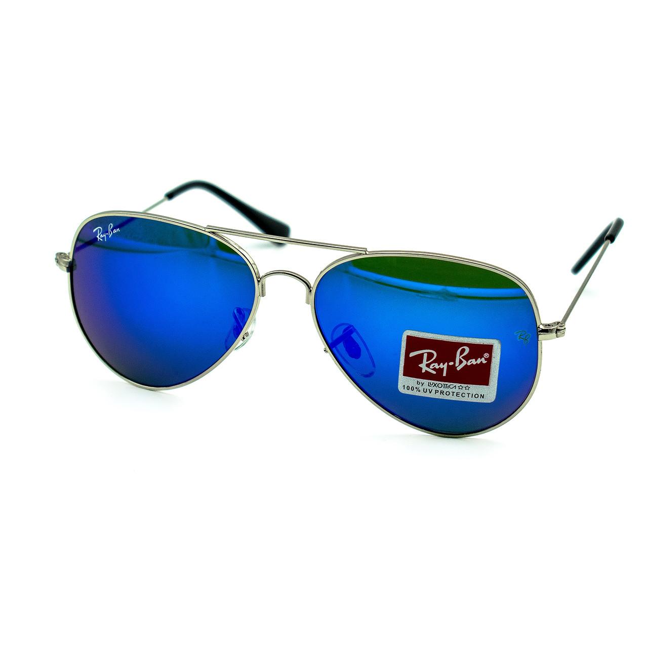 Очки Ray Ban Aviator синие + серебро (replica)