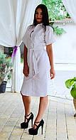 Платье рубашка ниже колена из льна