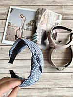 Женский обруч-чалма светло-голубой в горошек