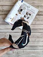 Женский обруч-чалма черный с фламинго