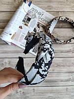 Женский обруч-чалма серый питон