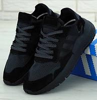 Мужские кроссовки Adidas Nite Jogger черные. Живое фото (Реплика ААА+)