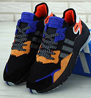 Мужские кроссовки Adidas Nite Jogger черные с фиолетовым. Живое фото (Реплика ААА+)
