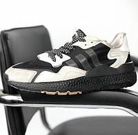 Мужские кроссовки Adidas ZX 500 в сеточку черные с белым (Реплика ААА+)