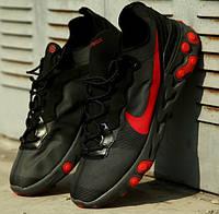 Мужские кроссовки Nike React Element 55 Black Solar Red черные с красным. Живое фото. Топ реплика ААА+