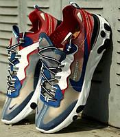 Мужские кроссовки Nike React Element 55 Red Royal красные с синим. Живое фото. Топ реплика ААА+