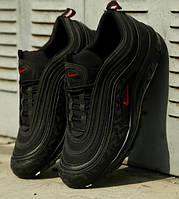 Мужские кроссовки Nike Air Max 97 Reflective Logos черные. Живое фото (Реплика ААА+)