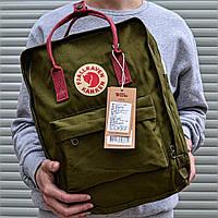 Рюкзак Канкен Fjallraven Kanken Classic Bag хаки с бордо. Живое фото. Качество Топ! (Реплика ААА+)