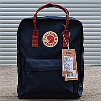 Рюкзак Канкен Fjallraven Kanken Classic Bag синий с бордовым. Живое фото. Качество Топ! (Реплика ААА+)