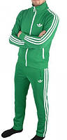 Зимний спортивный костюм , костюм на флисе Adidas, зелёный костюм,с лампасами с178