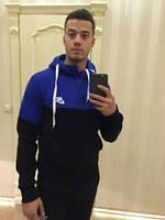 Зимний спортивный костюм , костюм на флисе Nike, черный низ, черные штаны, синий верх, с3389