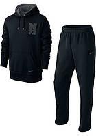 Зимний спортивный костюм, костюм на флисе Nike, черный кенгуру, с3398