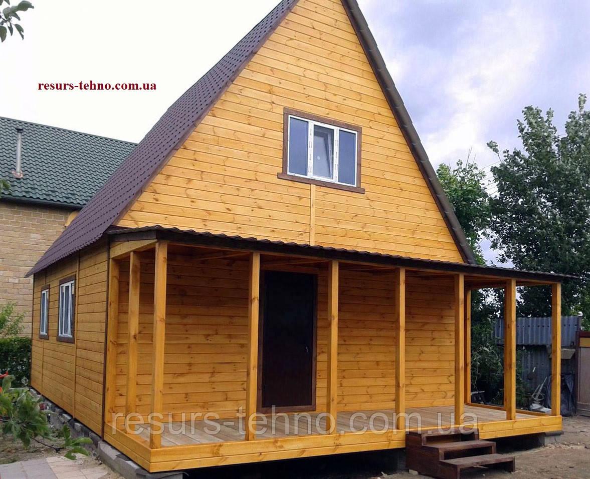 Дачный домик 7,0м х 7,5м фальшбрус с мансардой