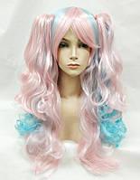 Парик косплей Лолита голубой розовый с хвостами аниме