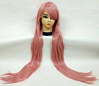 Парик розовый длинный 100см аниме карнавальный косплей cosplay прямой ровный